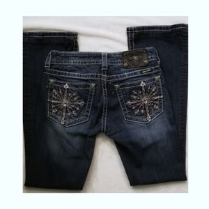 Miss Me- Pewter Studded & Crystal Compass Jeans